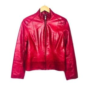 ANDREW MARC Red Leather Zip Moto Jacket